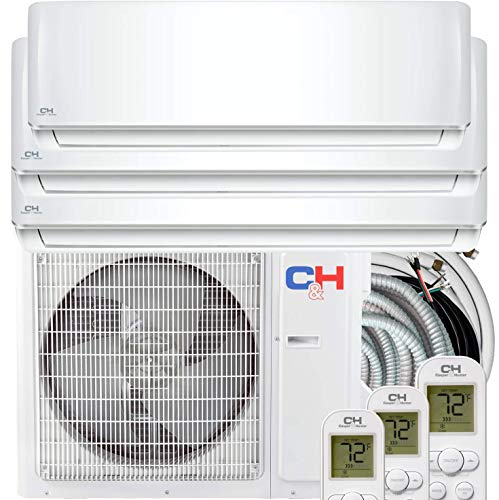 COOPER AND HUNTER Tri 3 Zone 9000 12000 12000 BTU Multi Zone Ductless Mini Split Air Conditioner Heat Pump WiFi Ready Full Set with 25ft Installation Kits