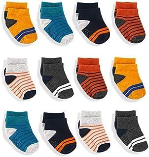 JAKIDAR 12 Pairs Baby Socks, Non Slip Grip Cotton Toddler Socks, Non Skid Ankle Socks for Boys Girls
