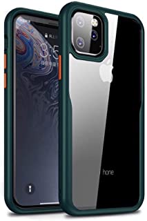 MOKO iphone 11 Pro Case, Transparent Hard Back Flexible Green Frame