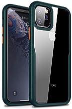 MOKO iphone 11 Pro Max Case, Transparent Hard Back Flexible Green Frame