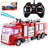 Liberty Imports RC Rescue Fire Engine Toy Truck - Radio Control RC Fire Truck with Working Water Pump Shoots and Squirts Water