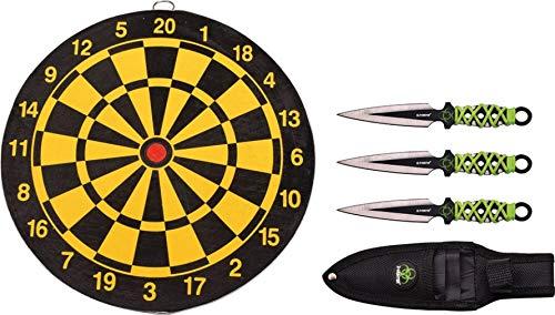 Swords and more Z-Hunter Wurfset 3-teilig mit Zielscheibe, Edelstahl, zweischneidige Klinge