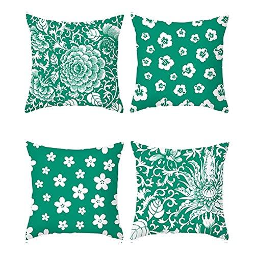 Confezione da 4 federe decorative per cuscini Federe con stampa margherita verde Fodera per cuscino quadrato Fodere per cuscini in velluto Decorazioni per la casa per divano auto Camera da letto 18x