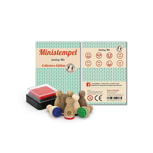 Stemplino 8 Ministempel im Set München mit Stempelkissen Sammlerstempel für Kinder & Erwachsene aus Holz