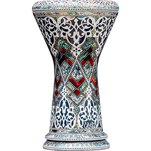 Die Royal Vines Sombaty Darbuka von Gawharet El Fan (World Percussion) – Arabische Darbouka-Trommel/Doumbek/Darabuka/Durbaka/Darbka mit weißem Kopf/Fell von Malik