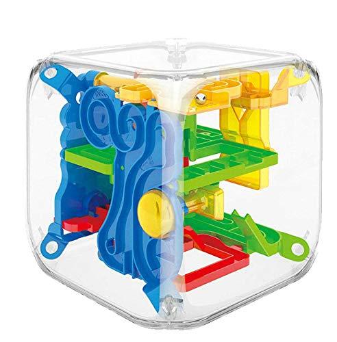 GuDoQi 3D Laberinto de Bolas de Juguete Puzzle, Juego de Rompecabezas Mágico 3D, Juego de Balance Laberinto Esférico con 72 Barreras Desafiantes Juguetes Educativos para Niños