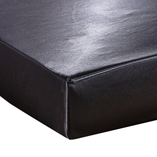 HYSENM Bettlaken Matratzenschoner Satin einfarbig mit Gummizug glatt Verschiedene Größen, Schwarz 200 x 200 cm