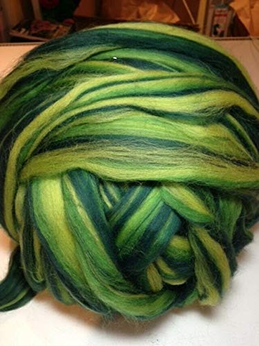 100 g Kammzug ++ Bandwolle ++ multicolor-Grüntöne ++ zum Filzen, Spinnen, XXL-Stricken + EUR 7,00/100g
