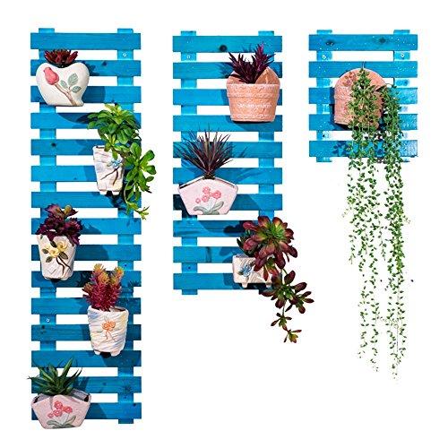 XIAOLIN- Racks en bois massif en bois massif Ensemble à pot à fleurs multicouches en bois multicouleur Salon Étagère à plantes vertes -Cadre de finition de fleurs (Couleur : Bleu, taille : 25 * 60cm)