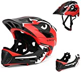 BMX Casco Infantil Integral para Ciclismo Enduro. Totalmente Ajustable con Mentoner Desmontable. Tamaño Ajustable Entre 48-58 cm (Rojo Negro, 52-56cm)