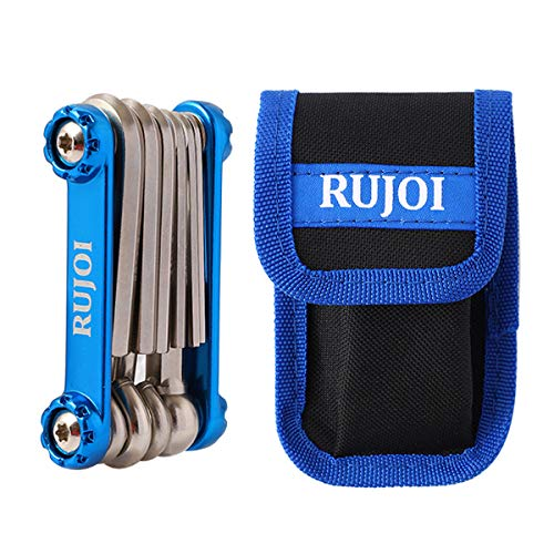 RUJOI Bike 10 Multi Tool Kit,Bike Repair tool Set with Allen and Torx Wrench, Phllips and Flat Screw, for Mountain, Road Bicycle Repair -Nylon Pouch Bag