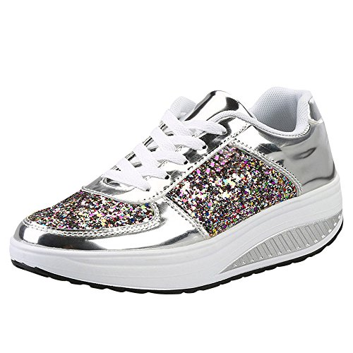 MRULIC Damen Gym Turnschuhe Freizeit Schnürer Sportschuhe Pailletten Glänzende Outface Schuhe Laufschuhe Sneaker Wedges Schuhe(Silber,)