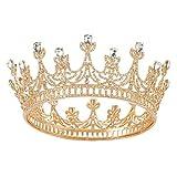 SWEETV Gold Königin Krone für Frauen und Mädchen, Hochzeit Kronprinzessin Tiara, Kostüm Party Zubehör für Brithday Halloween Babyshower