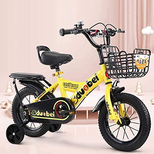 N&I Bicicleta infantil de acero de carbono de alta calidad con ruedas de entrenamiento duraderas para niños y niñas (3 colores)