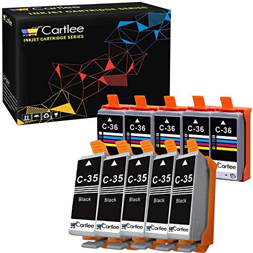 Cartlee 10 Compatible PGI-35 CLI-36 High Yield Ink Cartridges for PIXMA iP100, PIXMA iP110 (5 Black, 5 Color)