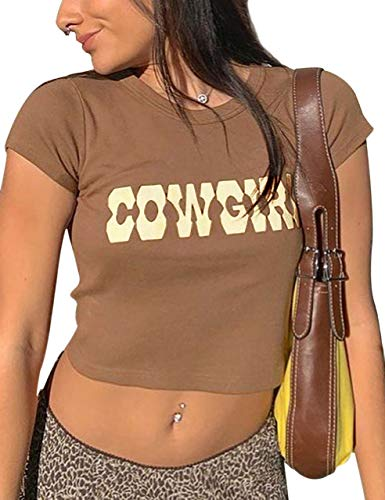 MISSACTIVER Women's Y2K Sexy Vintage Graphic and Letter PrintCrop Top Casual Summer Slim Short Sleeve Crop T-Shirt(Cowgirl-Brown,Small)