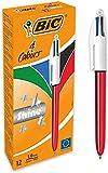 BIC 4 colores Shine - Caja de 12 unidades, bolígrafos punta media (1,0 mm), diseño metalizado, color rojo