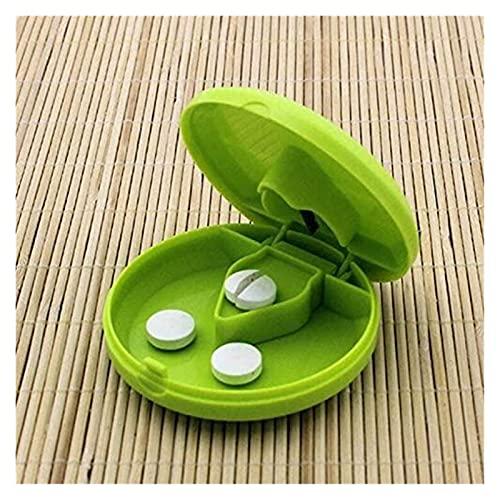 Scatola di Pillola, Pillola organizzatore Portatile Mini Piccolo Splitter Diviso di stoccaggio Cassa della Medicina Taglio vano portaschiere Titolare Splitter (Color : Green)