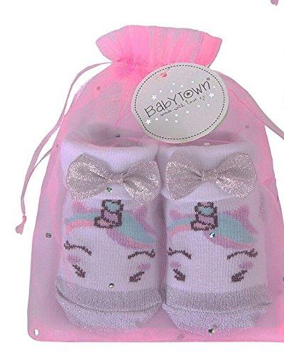 BabyTown - Par de calcetines para recién nacido (en bolsita de regalo, diseño de unicornio), color rosa o plateado rosa plata Talla:0 - 6 meses