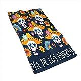 Tyueu Toalla de Cocina de Cara Dia De Los Muertos Greeting Microfiber Towel Super Absorbent Personal Custom Wipes, Machine Washable Absorbent Towel, Kitchen Towels Dish Towels 15.7x27.5 Inches