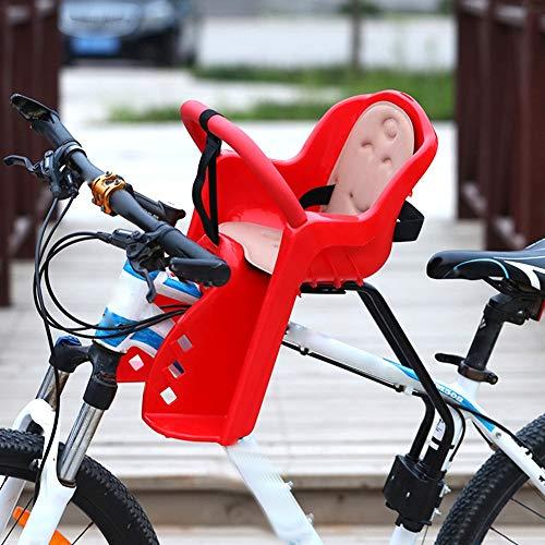JTYX Seggiolino Anteriore per Bicicletta Mountain Bike Seggiolino per Bambini Completamente recintato per Veicolo Elettrico da Bicicletta,Red,50X33CM