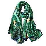 Silk Scarf Women Silk Scarves Soft Lightweight Shawl Wrap Fashion Green Peacock Satin Long Scarf...