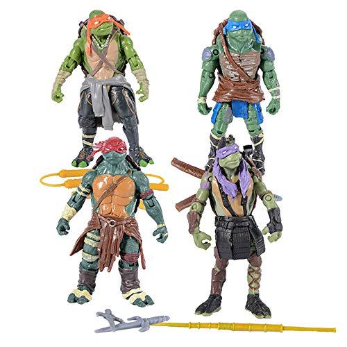 TREEMEN Juegos de Tortugas Ninja,4 Figuras de Acción, Tortugas Ninja Mutantes de Personaje de Anime Juguetes para La Colección de Cumpleaños de Los Niños,4.8inches