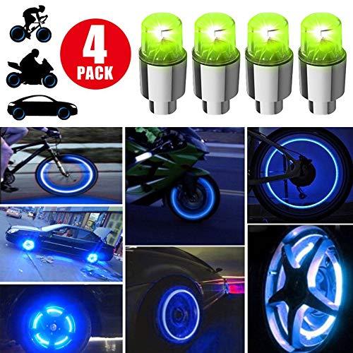 XQBD 4 Stücke LED Reifen Ventilkappen Neonlicht Auto Zubehör Fahrradlicht Auto Ventil Kappen Reifen Beleuchtung Speichen Licht für Fahrrad Auto Motorrad oder LKW grenn