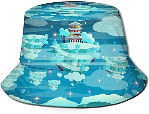 Cepillo de Dientes Unisex Sombrero de Cubo de Viaje Gorra de Pescador de Verano Sombrero de Sol-Juego de Pagoda de Invierno Chino de Dibujos Animados