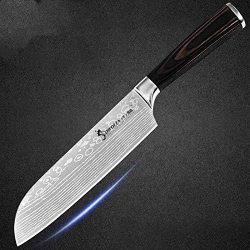 Cuchillo de cocción de acero inoxidable Damasco patrón cuchilla chef rebanar santoku herramientas de preparación de cuchillos para acampar (Color : I.7 santoku knife)