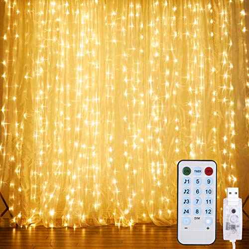 Curtain String Lights,Music Control Window String Lights 300 LED Fairy Twinkle Lights with 8 Modes Remote Control Fit Bedroom Wedding Party Backdrop Outdoor Indoor Wall Decoration(Warm)