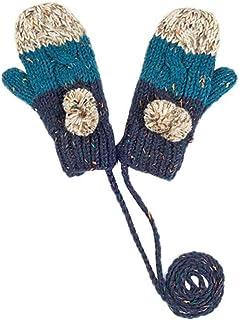 ACVIP Women's Wool Knit Pom Stringed Cold Weather Mitten Gloves