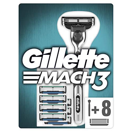 Gillette Mach3 Rasierer Herren mit verbesserten Feuchtigkeitsstreifen, Rasierer + 8 Rasierklingen