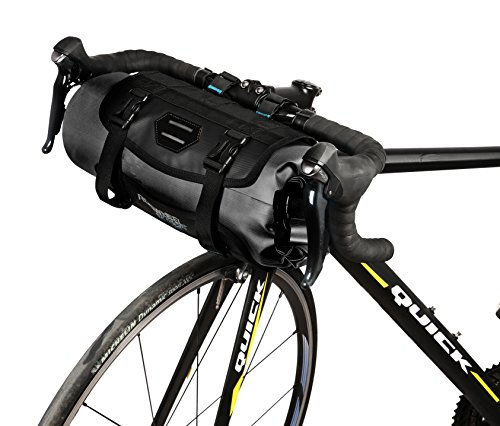 Roswheel Attack Series 111369 Waterproof Adjustable Capacity Bike Bicycle Cycling Handlebar Bag with Detachable Dry Pack, Black