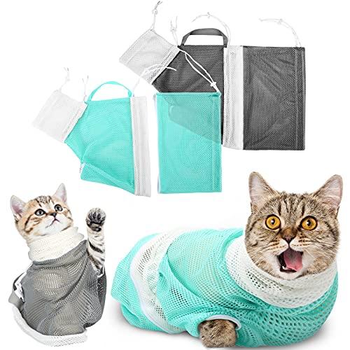 2 Stück Katzenbadetasche Abnehmbare Katzen-Duschnetz Tasche Atmungsaktive Katzen-Pflegetasche Anti-Biss und Anti-Kratzer Katzen-Welpen-Reinigung Dusche zum Baden Nagel Trimmen Füttern, Grün Grau
