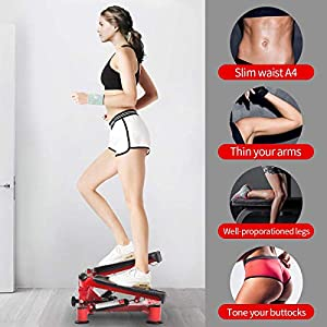 BEOUZO Fitness Stair Stepper for Women and Man,Mini Stepper Fitness Cardio Exercise Trainer,Height Adjustable StepperTwisting Machine,Stepper Exercises Equipment with LCD Monitor and Resistance Bands