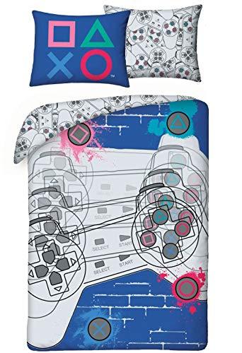 Halantex Playstation Bettwäsche-Set, Bettbezug 140 x 200cm, Kopfkissenbezug 100% Baumwolle, ÖkoTex Standard 100