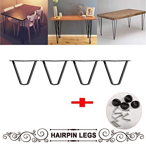 4Inch Haarspeld Tafelpoten voor DIY Koffie Tafel TV Stand Sofa Zijtafel met Beschermer en Schroeven Set van 4 Metalen Heavy Duty Industrial Design Zwart