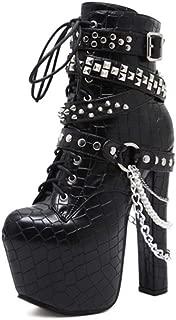 [CJAQ] ショートブーツ ハイヒール ブーティ 黒 歩きやすい 太めヒール レディース ブーツ バックジッパー リベット レースアップ ラウンドトゥ 16cm パンクおしゃれ 可愛い キャバデザイン 靴 アンクルブーツ 安定感 ショートブーツ