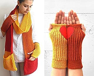 Knitted Pocket Scarf & Arm Warmers with Heart