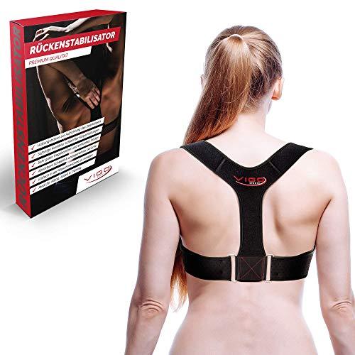Vigo Sports atmungsaktive Rückenstütze zur effektiven Haltungskorrektur - waschmaschinenfester Rücken Geradehalter für Damen & Herren - Schultergurt für schmerzfreie Rückenkorrektur Rückengurt