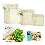 E-Know Bolsas Reutilizables,Juego de 11 Bolsas de algodón, Bolsas Biodegradables Natural...