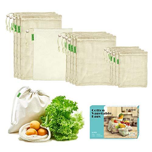 Eknow - Sacchetti per verdure in cotone, set da 11 sacchetti per frutta e verdura, in cotone naturale, zero waste (3 piccoli, 4 medi e 3 grandi, 1 borsa portaoggetti, multiuso.