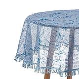 Laneetal 0800164 Gartentischdecke Rund in Hellblau Bedruckt 140 cm Tischdecke mit Quaste Tischtuch aus Weichschaum rutschfest wetterfest witterungsbeständig Outdoor
