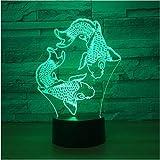 Illusion Lampe Nachtlicht USB Schwimmen Fisch 3D Lava Lampe 7 Farbwechsel 3D Led Nachtlicht Stimmung Hochzeitsdekor Geschenk Schlafzimmer Tischlampe 3D Nachtlicht NO.760