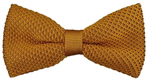 hochwertige TigerTie Strickfliege in ocker Uni einfarbig + Aufbewahrungsbox - Schleife 30 cm bis 55 cm verstellbar