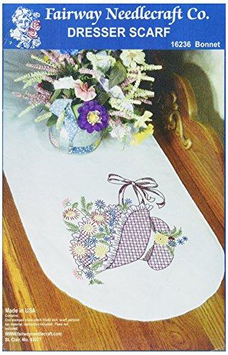 Fairway gestempeld Perle Edge dressoir sjaal 15 x 42-inch-Flower motorkap