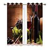 wine and grape kitchen decor - Misscc Decorative Blackout Curtains,Glasses of Red and White Wine,Served with Grapes on a Wooden Background,Window Treatments Drapes for Living Room Bedroom Kitchen Cafe,2 Panel Set