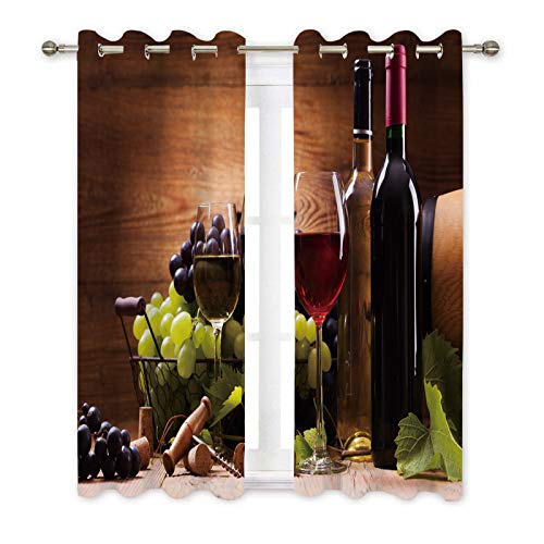 Misscc Decorative Blackout Curtains,Glasses of Red and White Wine,Served with Grapes on a Wooden Background,Window Treatments Drapes for Living Room Bedroom Kitchen Cafe,2 Panel Set