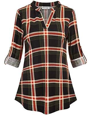 Ouncuty Fall 3 4 Sleeve Tunics for Women V Neck Plaid Henley Blouses Shirts Work